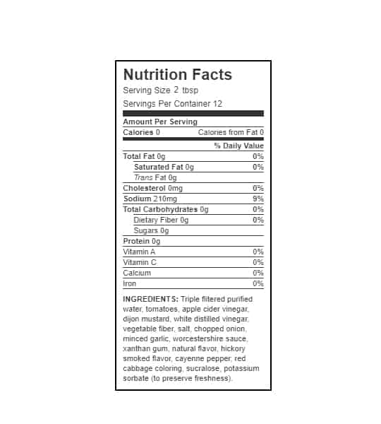 Nutrition facts and ingredients panel of Walden Farms Hickory Smoked BBQ Sauce for serving size 2 tbsp and 12 servings per container
