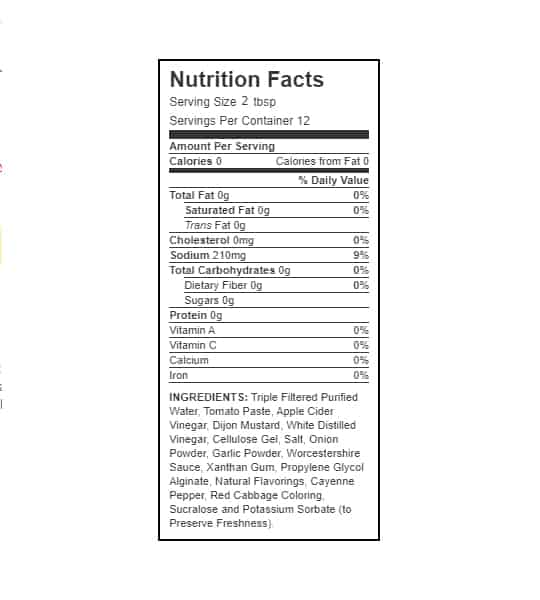 Nutrition facts and ingredients panel of Walden Farms Original BBQ Sauce for serving size 2 tbsp with 12 servings per container