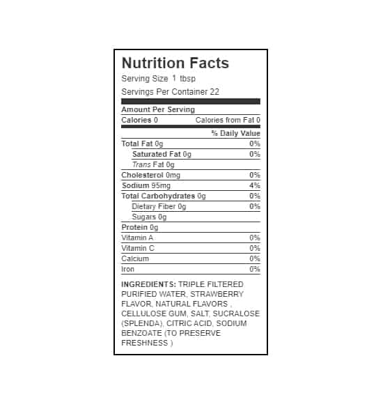 Nutrition facts and ingredients panel of Walden Farms Strawberry Syrup for serving size 1 tbsp with 22 servings per container
