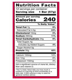 Nutrition facts panel of BSN Protein Crisp Bar for serving size of 1 bar (57 g)