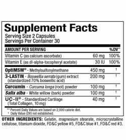 Supplement facts and ingredients panel of Allmax Allflex Joint Relief for serving size of 2 capsules and 30 servings per container