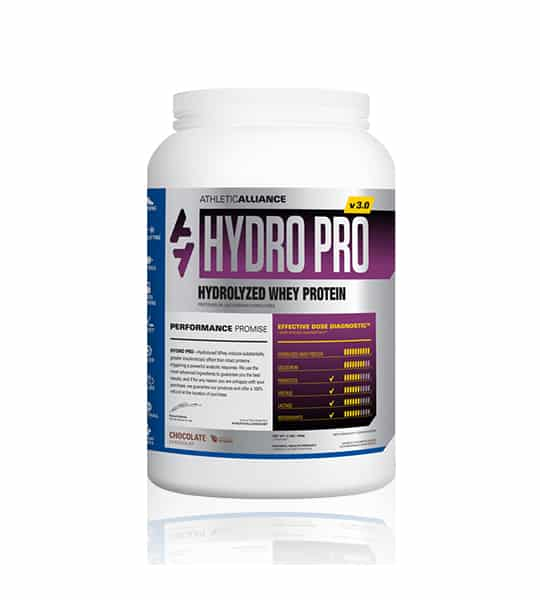 Silver and purple container with white lid of Athletic Alliance Hydro Pro v3.0 Hydrolyzed Whey Protein