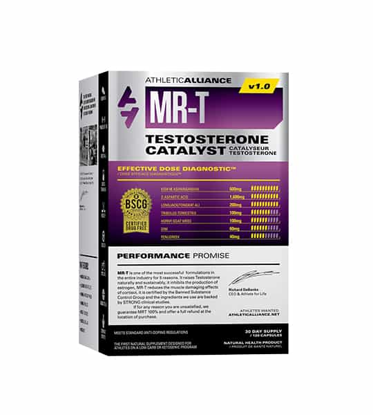 Silver and purple box of Athletic Alliance MR-T v1.0 Testosterone Catalyst with Performance Promise