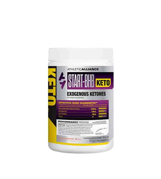 Silver and purple container with white lid of Athletic Alliance Start BHB Keto Exogenous Ketones