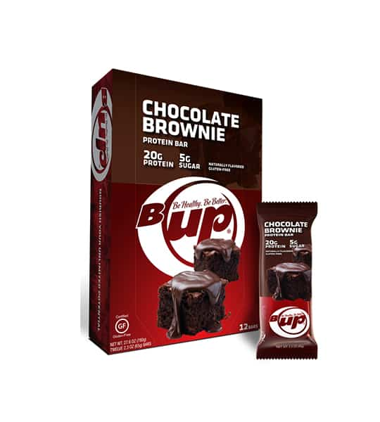 Red and brown box and pouch of BUp Chocolate Brownie protein bars with 12 bars per box and each bar containing 20 g protein and 5 g sugar