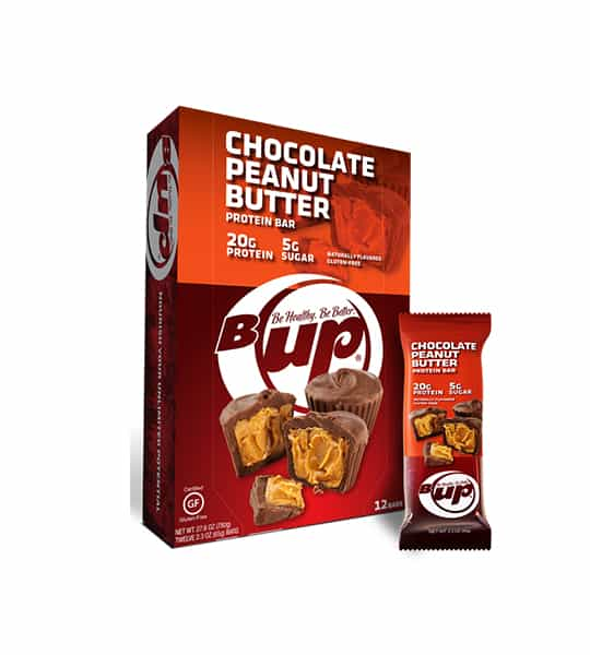 Red and orange box and pouch of BUp Chocolate Peanut Butter Protein bars with 12 pouches per box and each pouch containing 20 g protein and 5 g sugar