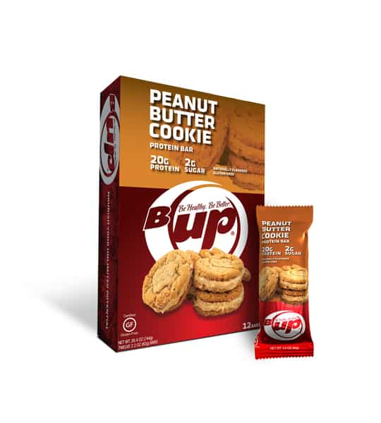 Red and orange box and pouch of BUp Peanut Butter Cookies with box containing 12 bags and each bag containing 20 g protein and 2 g sugar