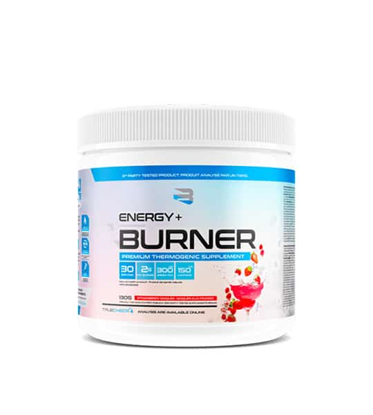 White and blue container with white lid of Believe Supplements Energy+ Burner shown in white background