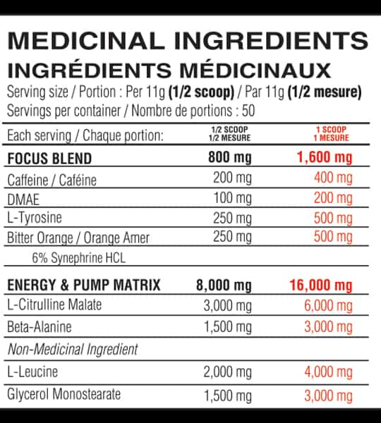 Medicinal ingredients panel of Believe Supplements Pump Addict for serving size 1/2 scoop (11 g) with 50 servings per container