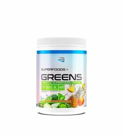 Blue and green container with white lid of Believe Supplements SuperFoods+ Greens Premium Superfoods powder