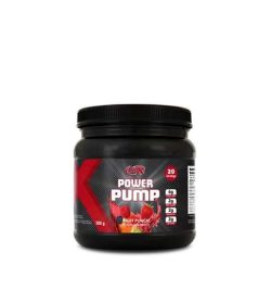 Black and red container with black lid of BioX Power Pump with Fruit Punch flavour contains 20 servings