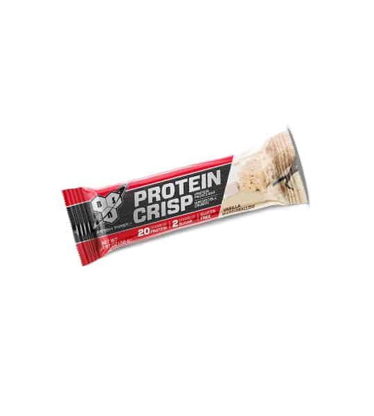 A red and black pouch of BSN Protein Crisp with Vanilla falvour contains 20 g protein, 2 g sugar and gluten free