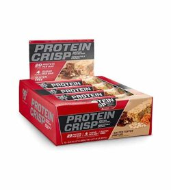 Red and black box of BSN Protein Crisp Salted Toffee protein bars each containing 20 g protien, 4 g sugar and gluten free
