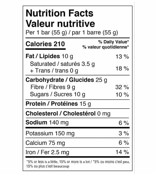 Nutrition facts panel of Genuine Health Fermented Vegan Proteins for serving size of 1 bar (55 g)