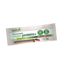 White, green and brown pouch of Genuine Health Fermented Vegan Proteins+ 55 g bar with 13 g protein