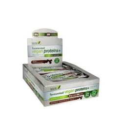 White, green and brown box of Genuine Health Fermented Vegan Proteins+