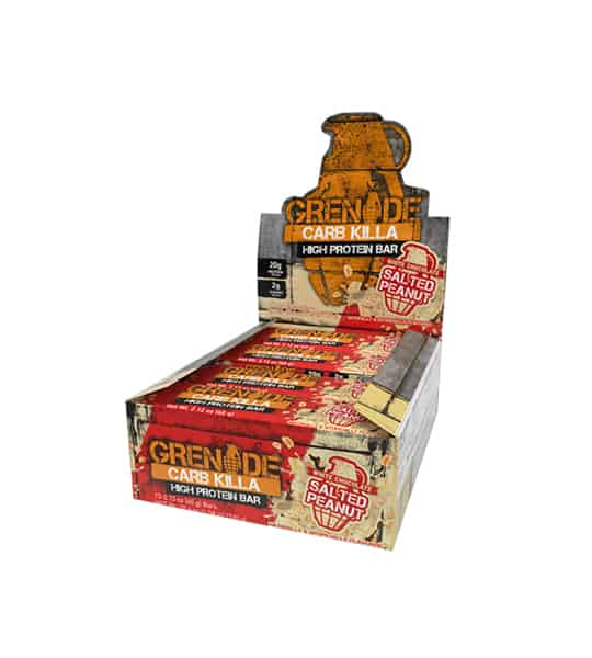 Red and grey box of 12 Grenade carb killa High Protein Bars with Salted Peanut flavour