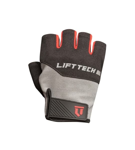 Grey and red Lifetech Elite men's Wrist Wrap outside view shown in white background