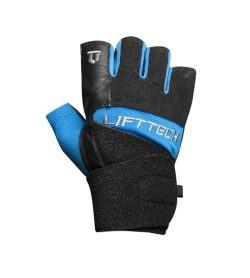 Black and blue Lifetech Elite Wrist Wrap outside view shown in white background