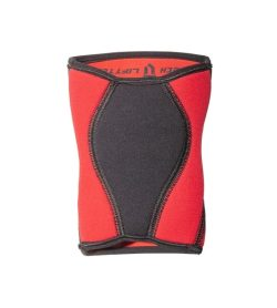 Rend and black LiftTech Pro 5mm Knee Wraps showing front side in white background