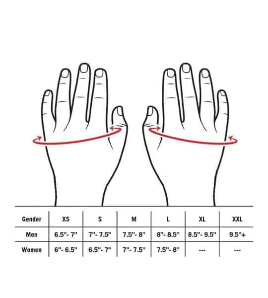 Lifetech Elite Women's Wrist Wrap Size Chart showing men and women sizes and hand diagram