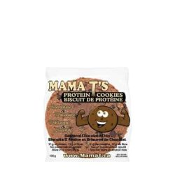 White pouch of Mama T's Protein Cookies with oatmeal chocolate chip flavour shows smiling cookie picture