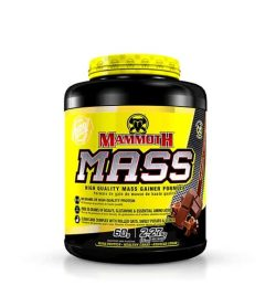 Yellow and black container with yellow lid of Mammoth MASS high quality mass gainer formula contains 2.27 kg (5 lb)