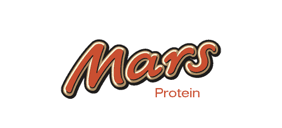Mars Protein logo chocolate bar protein red curvy letters