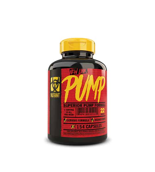 Black bottle with yellow cap of Mutant PUMP Superior Pump Formula contains 154 capsules
