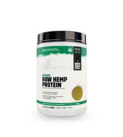 White and green container with black lid of North Coast Naturals Organic Raw Hemp Protein