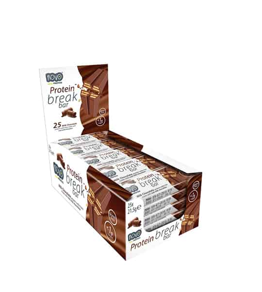 White and brown box of Novo Protein Break bar containing 25 bars of 21.5g each