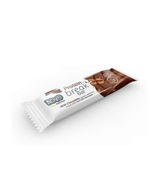 White and brown package of Novo Protein Break bar containing 1 bar with Milk Chocolate flavour