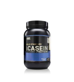 Black and blue container with black lid of ON Gold Standard 100% Casein Protein contains 2 lb