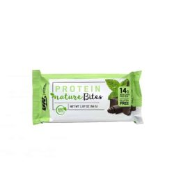 White and green pouch of ON Optimum Nutrition Protein Nature Bites contains net wt 1.97 oz (56 g), 14 g protein and gluten free