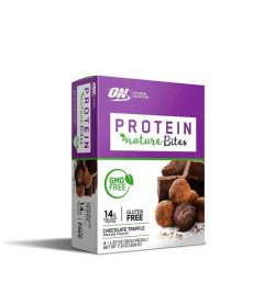 White and purple box of ON Optimum Nutrition Protein Nature Bites GMO Free and Gluten free with Chocolate Truffle flavour