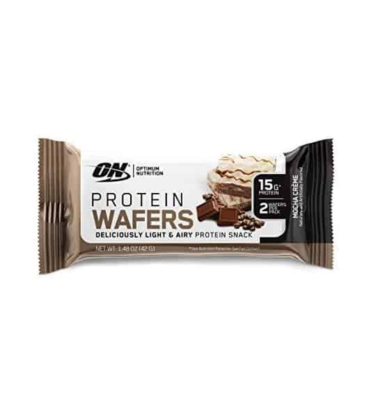 White and green pouch of ON Optimum Nutrition Protein Wafers contains net wt 1.48 oz (42 g) and 15 g protein
