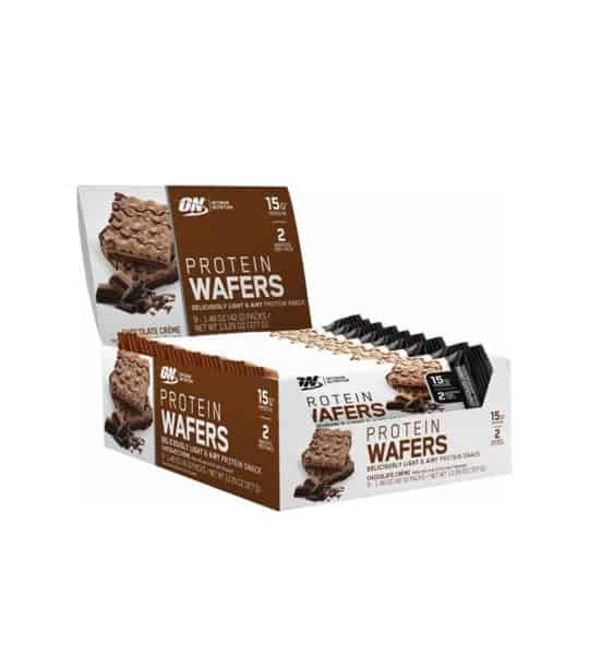 White and brown box showing pouches of ON Optimum Nutrition Protein Wafer each containing 15 g protein