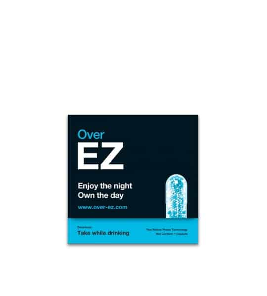 Black and blue box of Over EZ Enjoy the night Own the day Take while drinking with a picture of a capsule www.over-ez.com