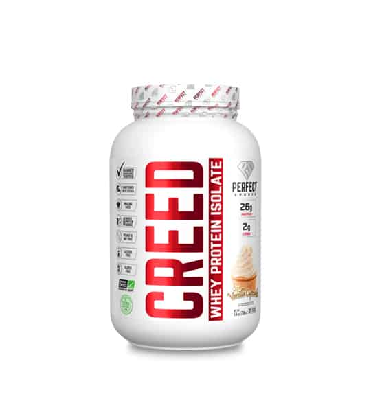 White container with white lid of Perfect Sports Creed Whey Protein Isolate containing 6 lbs