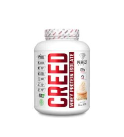 White container with white lid of Perfect Sports Creed Whey Protein Isolate containing 4 lbs