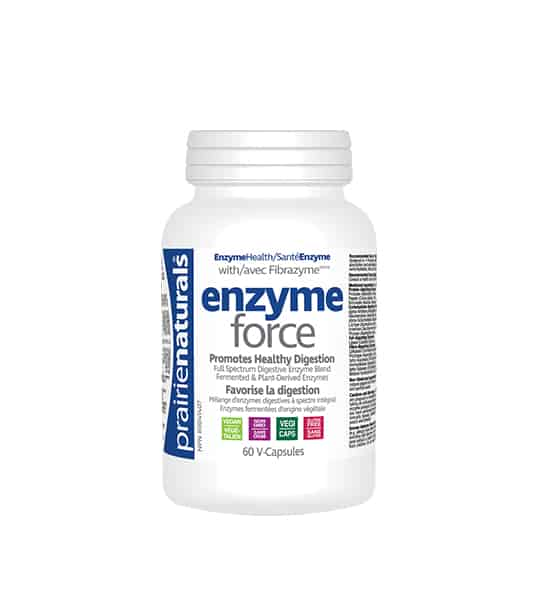 White bottle with white cap of Prairie Naturals Enzyme Force showing text in blue and grey contains 60 V-Capsules