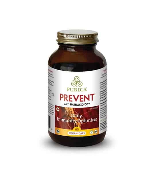 Brown bottle with shiny lid of Purica Prevent with Immunidiol Daily Immunity Optimizer contains 60 vegan caps