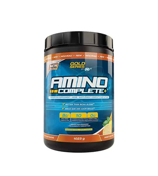 Blue and black container with black lid of PVL Gold Series Amino Complete+ contains 1023 g