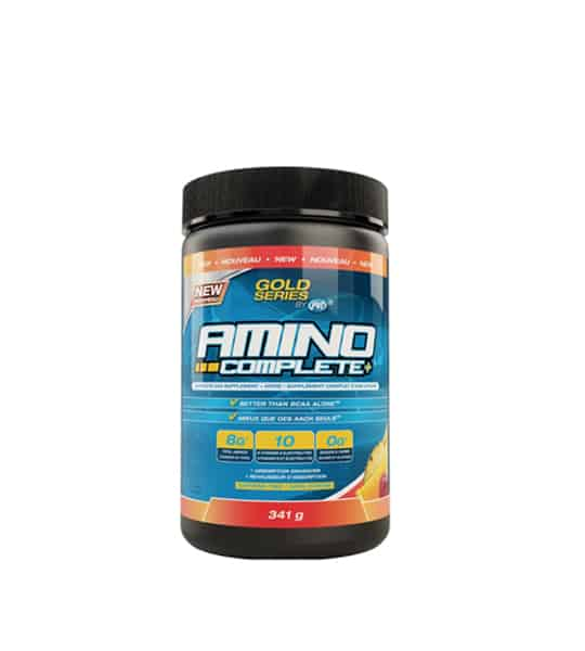 Blue and black container with black lid of PVL Gold Series Amino Complete+ contains 341 g