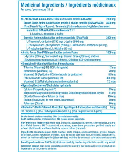 Medicinal ingredients panel of PVL Amino Complete for serving size of 1 scoop (11 g)