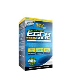Blue and yellow box of PVL Gold Series Green Tea EGCG Gold+ with free bonus inside