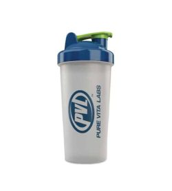 White PVL 800 ml Shaker cup with blue and green lid