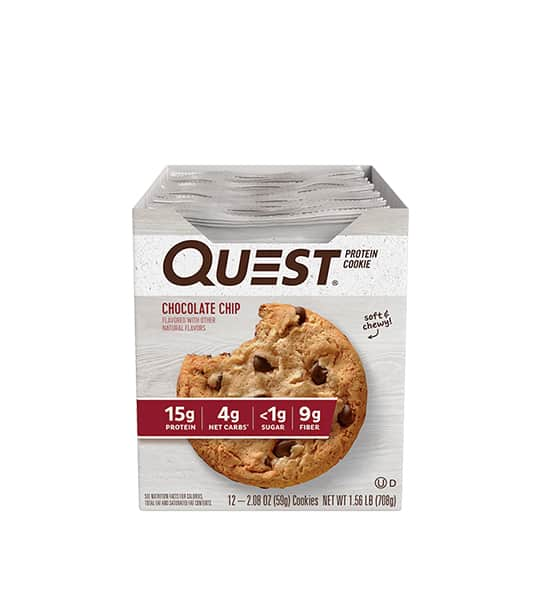 A box of 12 Quest Protein Cookie with Chocolate Chip flavour contains 15g protein, 4g net carbs,