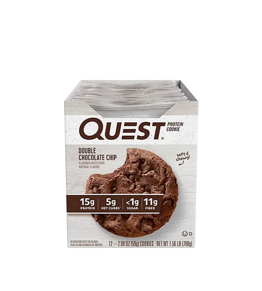 A box of 12 Quest Protein Cookie with Double Chocolate Chip flavour contains 15g protein, 5g net carbs,