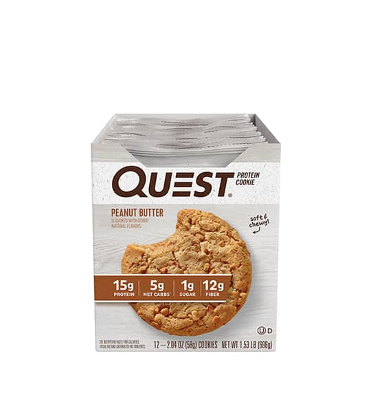 A box of 12 Quest Protein Cookie with Peanut Butter flavour contains 15g protein, 5g net carbs, 1g sugar and 12g fiber